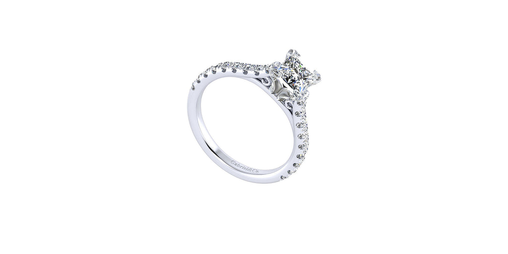 Erica 14k White Gold Princess Shape Straight Engagement Ring