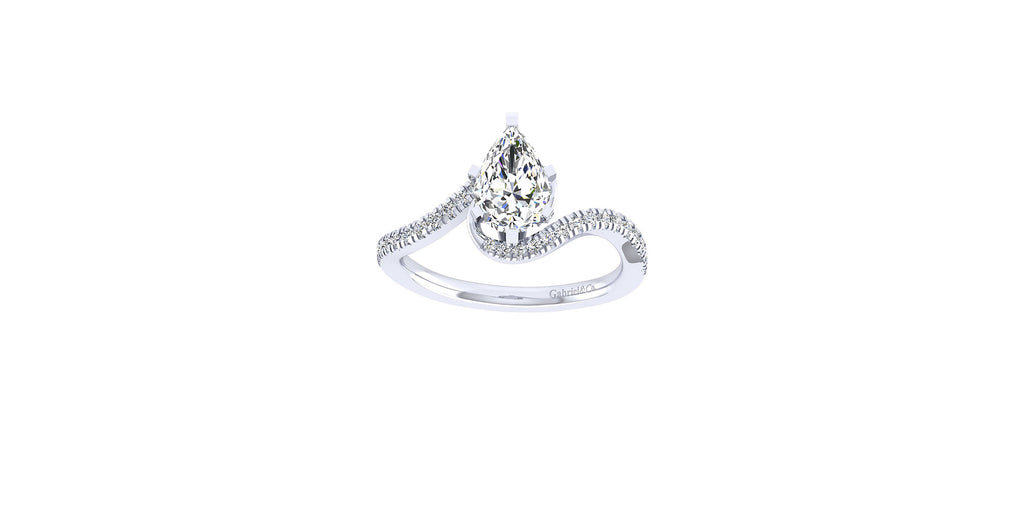 Harmony 14k White Gold Pear Shape Bypass Engagement Ring