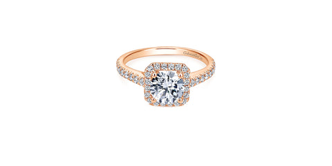 Margot 14k Rose Gold Round Halo Engagement Ring