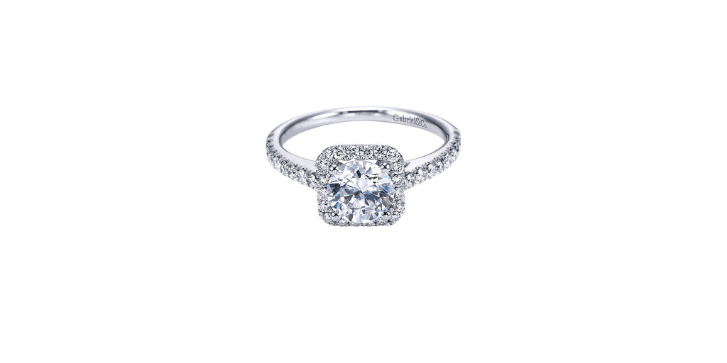 Margot Platinum Round Halo Engagement Ring