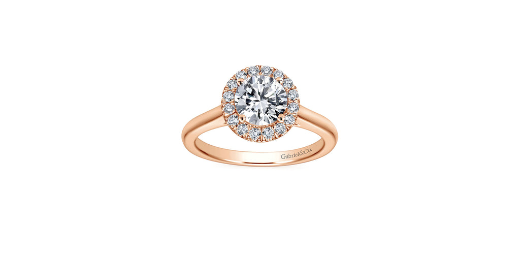 Stacy 14k Rose Gold Round Halo Engagement Ring