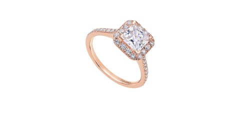 Patience 14k Rose Gold Princess Shape Halo Engagement Ring