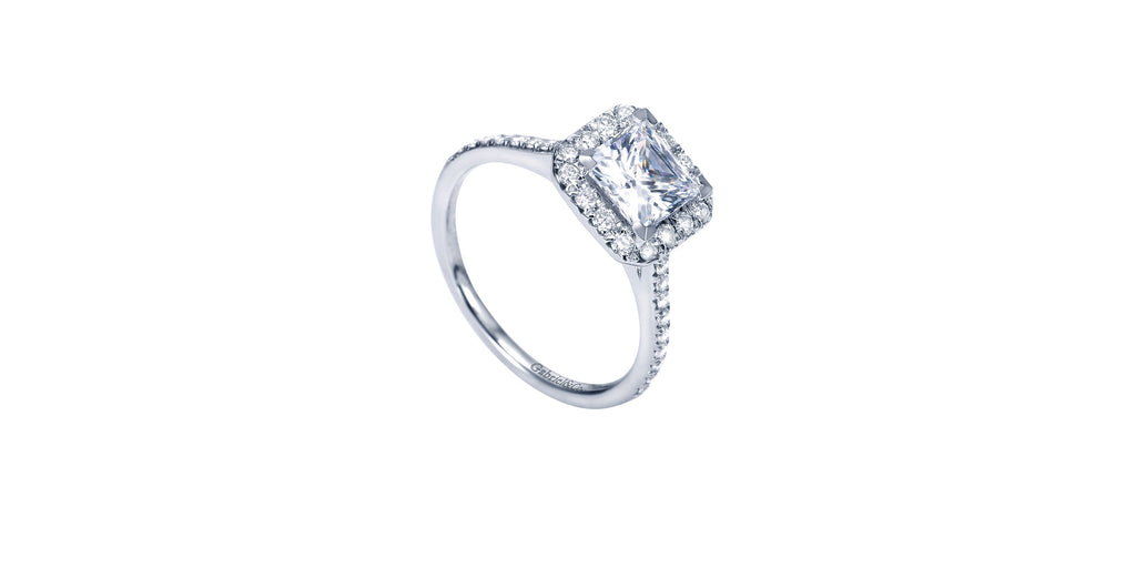 Patience Platinum Princess Shape Halo Engagement Ring