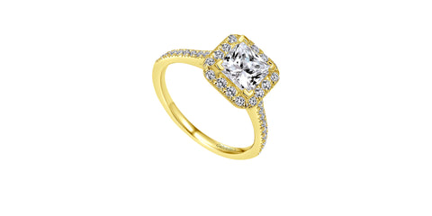 Patience 14k Yellow Gold Princess Shape Halo Engagement Ring