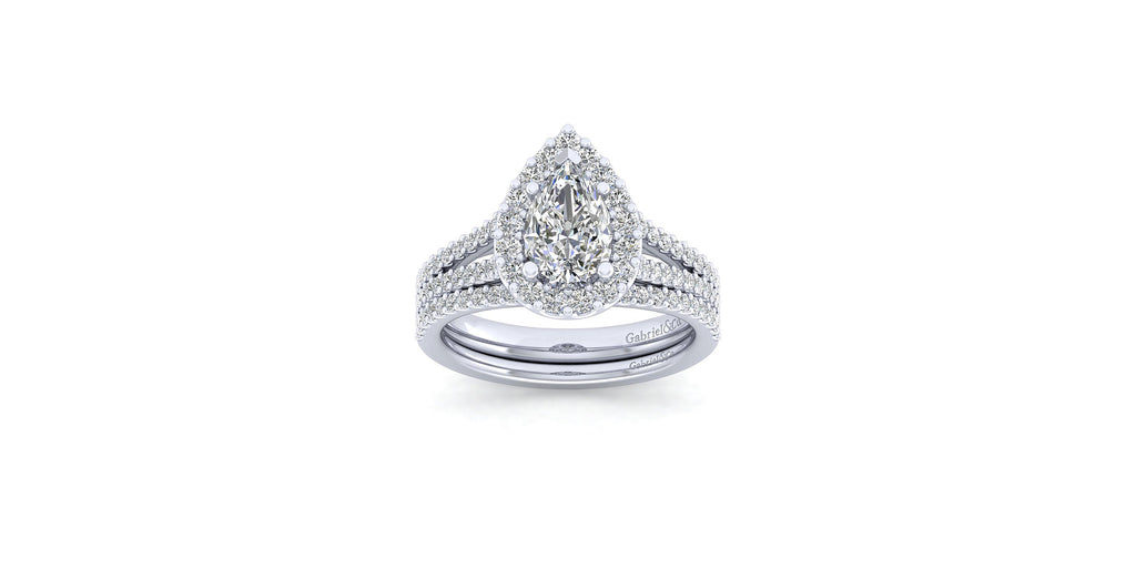 Savannah 14k White Gold Pear Shape Halo Engagement Ring