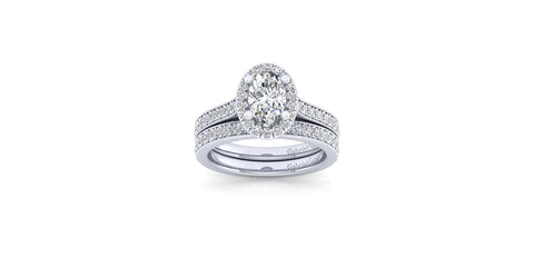 Bernadette Vintage 14k White Gold Oval Shape Halo Engagement Ring