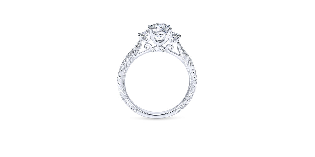Marianna Vintage 14k White Gold Round Three Stone Engagement Ring