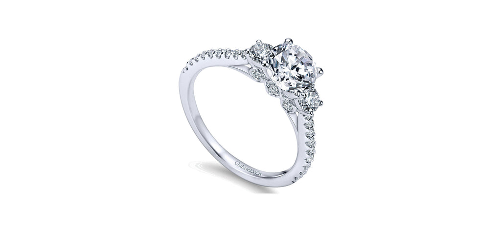 Chantal 14k White Gold Round Three Stone Engagement Ring