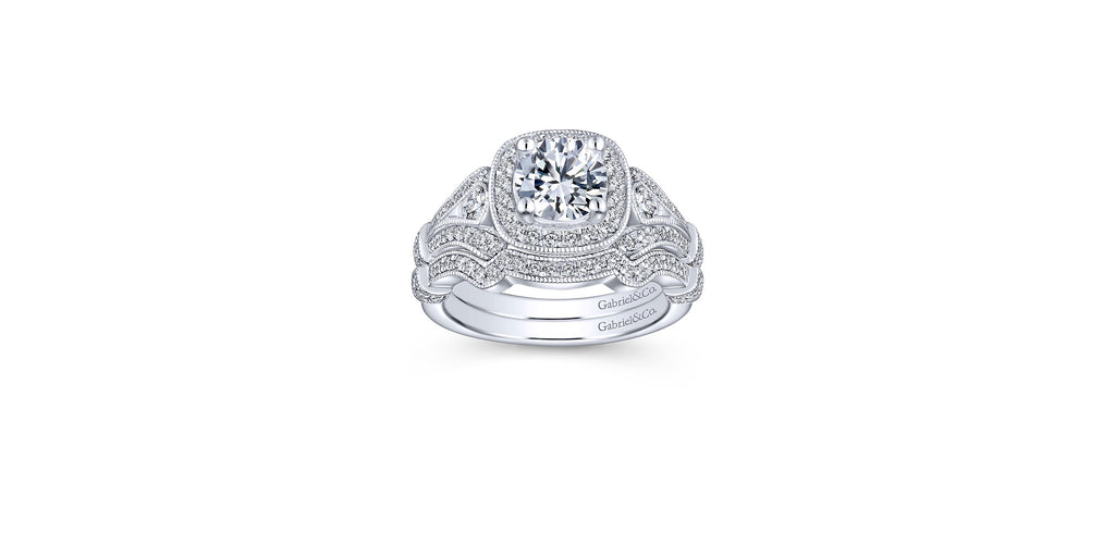 Delilah Vintage Platinum Round Halo Engagement Ring