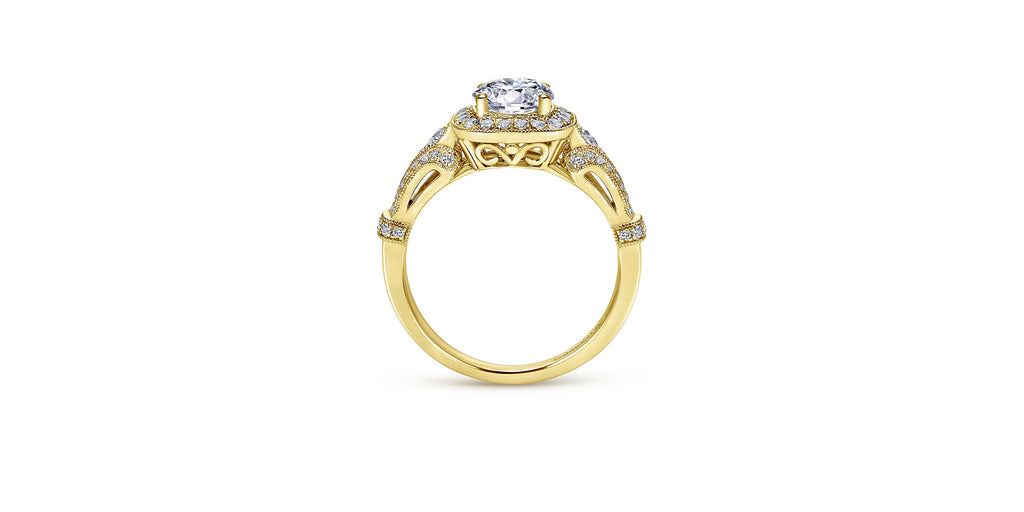 Delilah Vintage 14k Yellow Gold Round Halo Engagement Ring