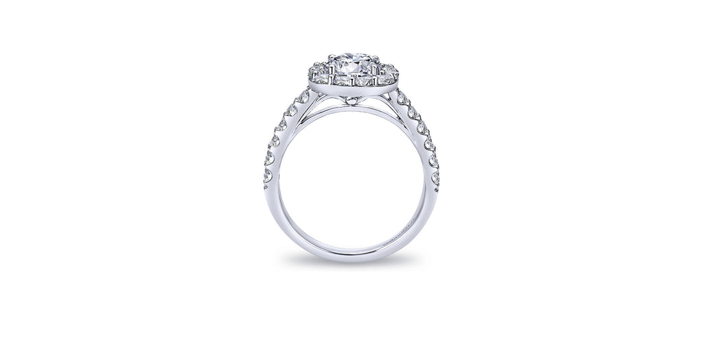 Skylar Platinum Round Halo Engagement Ring