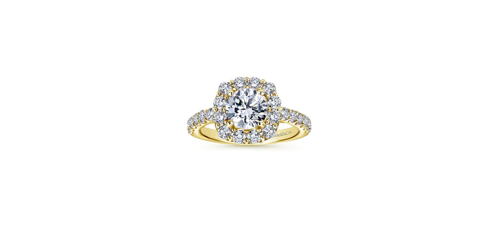 Skylar 14k Yellow Gold Round Halo Engagement Ring