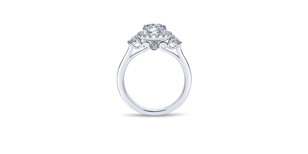 Noelle 14k White Gold Round Three Stone Halo Engagement Ring