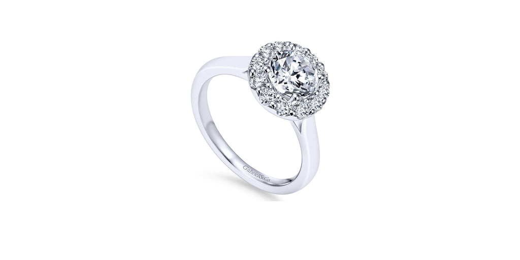 Lana 14k White Gold Round Halo Engagement Ring