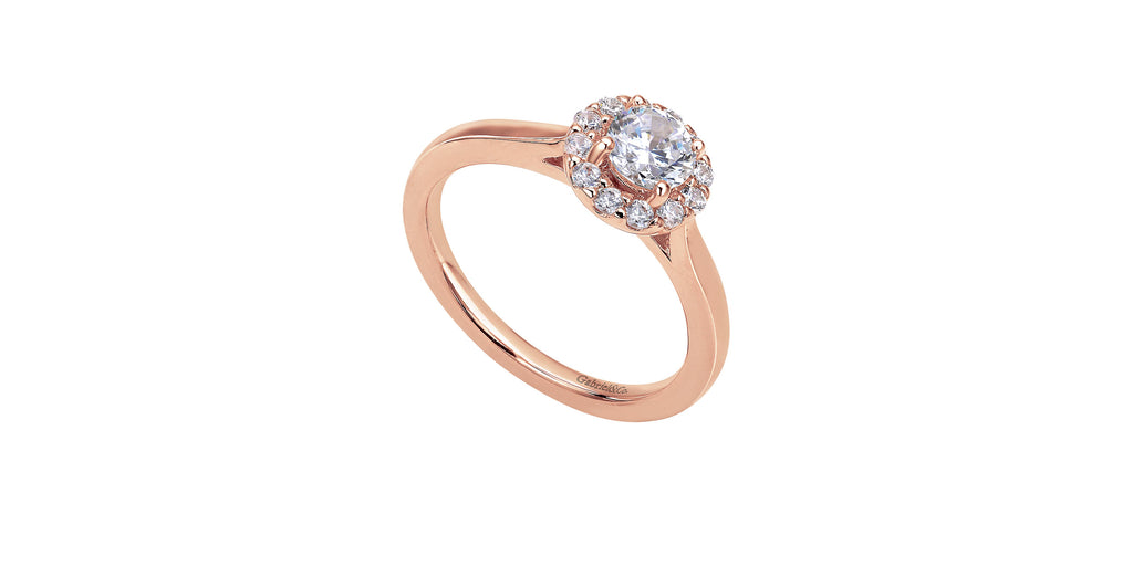 Lana 14k Rose Gold Round Halo Engagement Ring