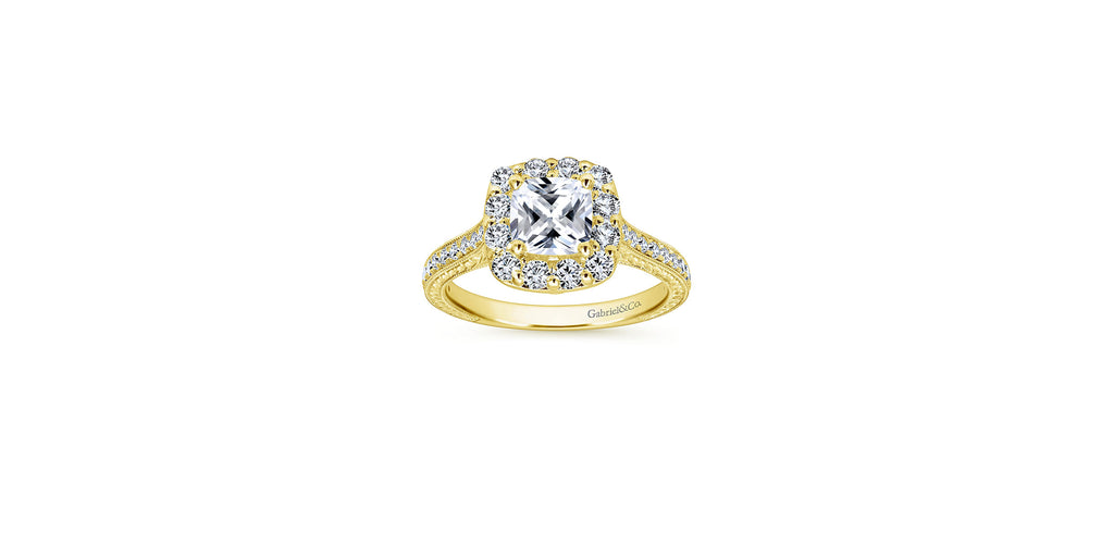 Zelda Vintage 14k Yellow Gold Cushion Shape Halo Engagement Ring