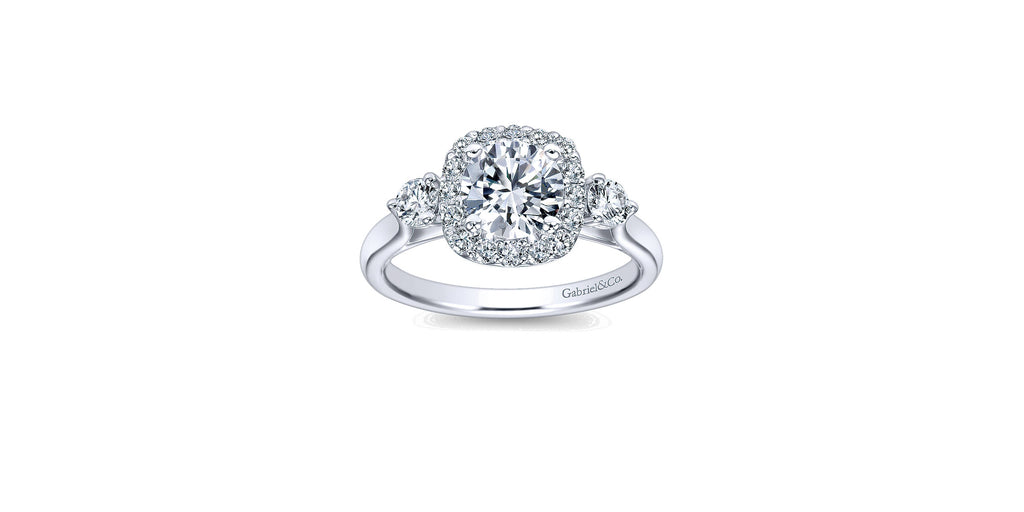 Martine 14k White Gold Round Three Stone Halo Engagement Ring