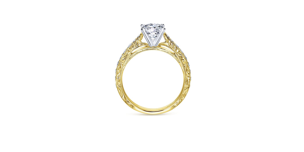Vintage 14k Yellow Gold Round Straight Engagement Ring