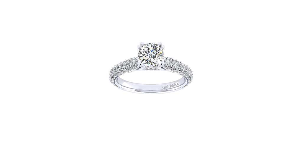 14k White Gold Cushion Shape Straight Engagement Ring