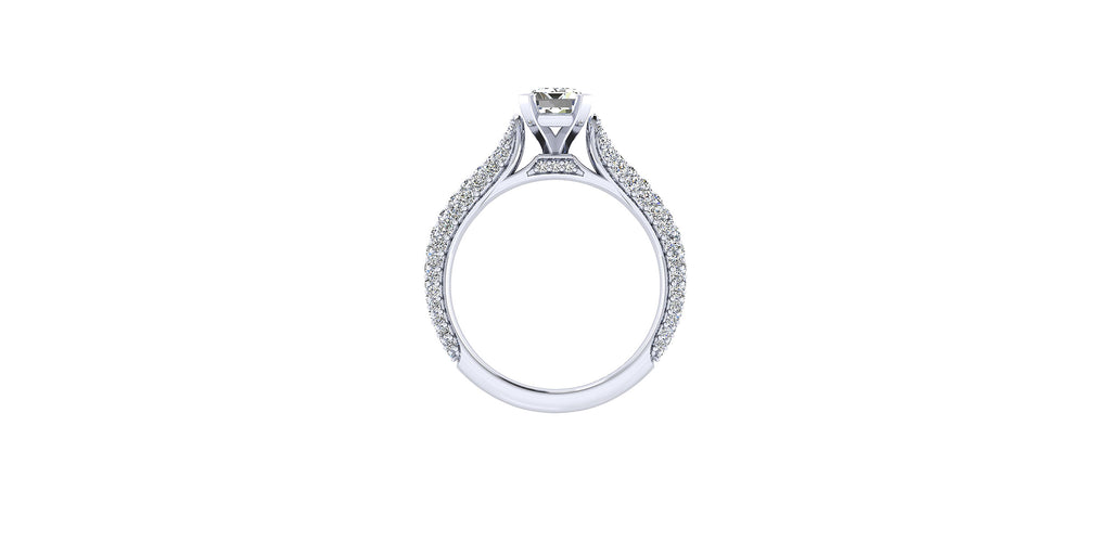 14k White Gold Emerald Shape Straight Engagement Ring