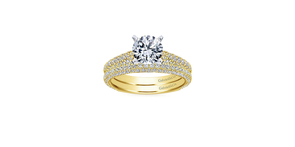 14k Yellow Gold Round Straight Engagement Ring