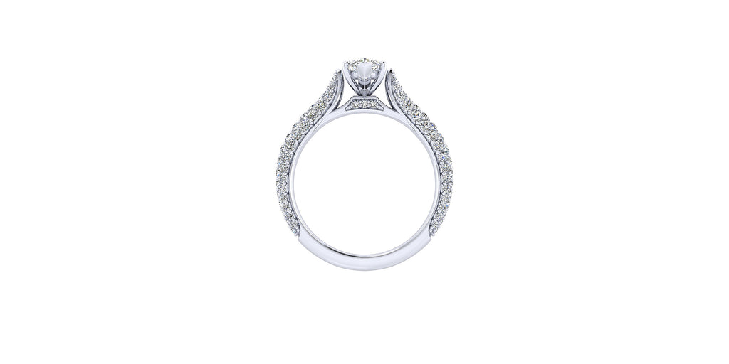 14k White Gold Marquise Shape Straight Engagement Ring