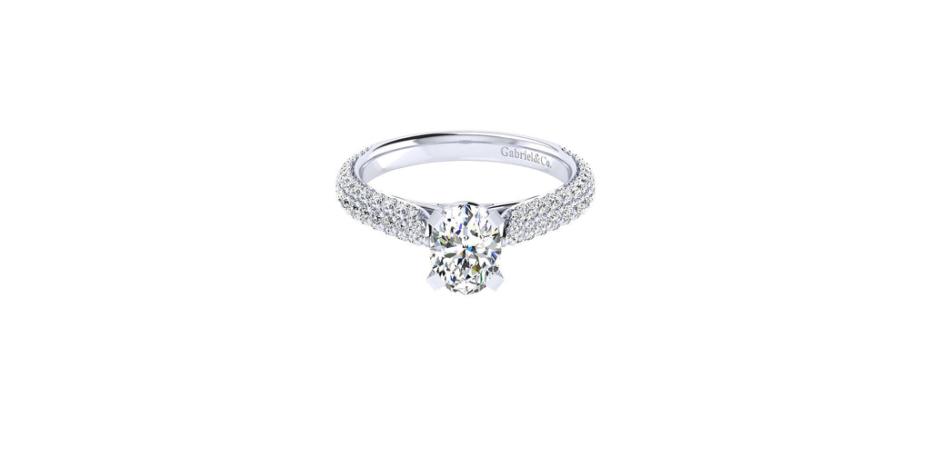 14k White Gold Oval Shape Straight Engagement Ring