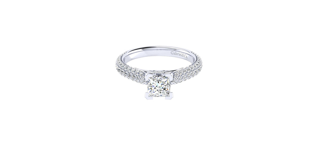 14k White Gold Princess Shape Straight Engagement Ring