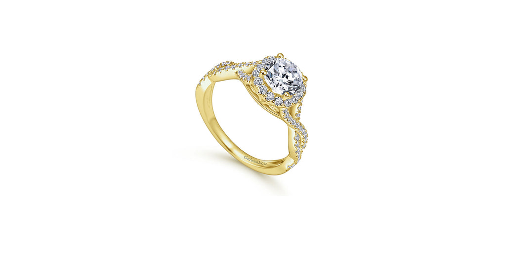 Marissa 14k Yellow Gold Round Halo Engagement Ring