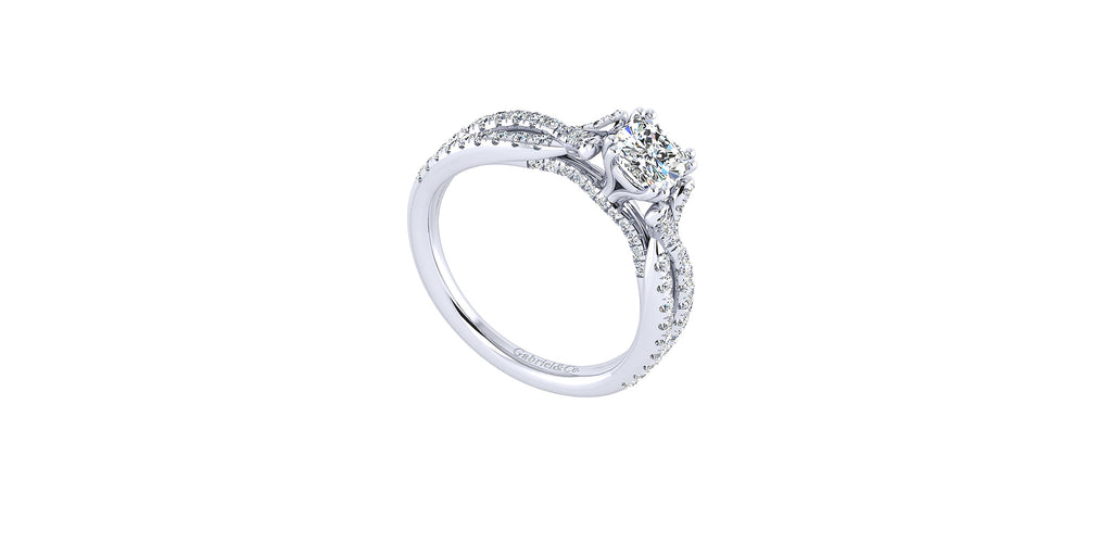 Alicia 14k White Gold Cushion Shape Twisted Engagement Ring