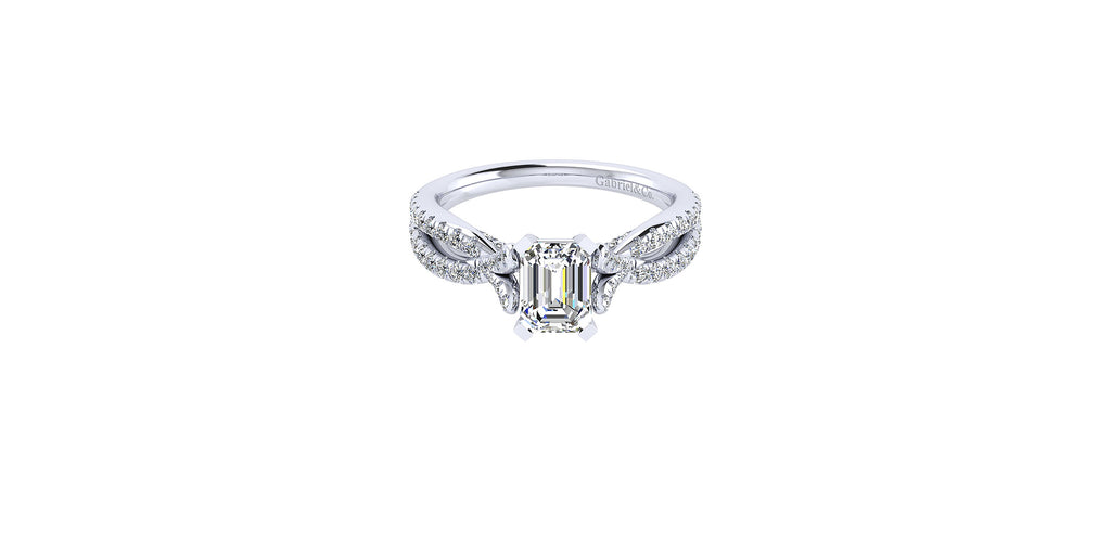 Alicia 14k White Gold Emerald Shape Twisted Engagement Ring