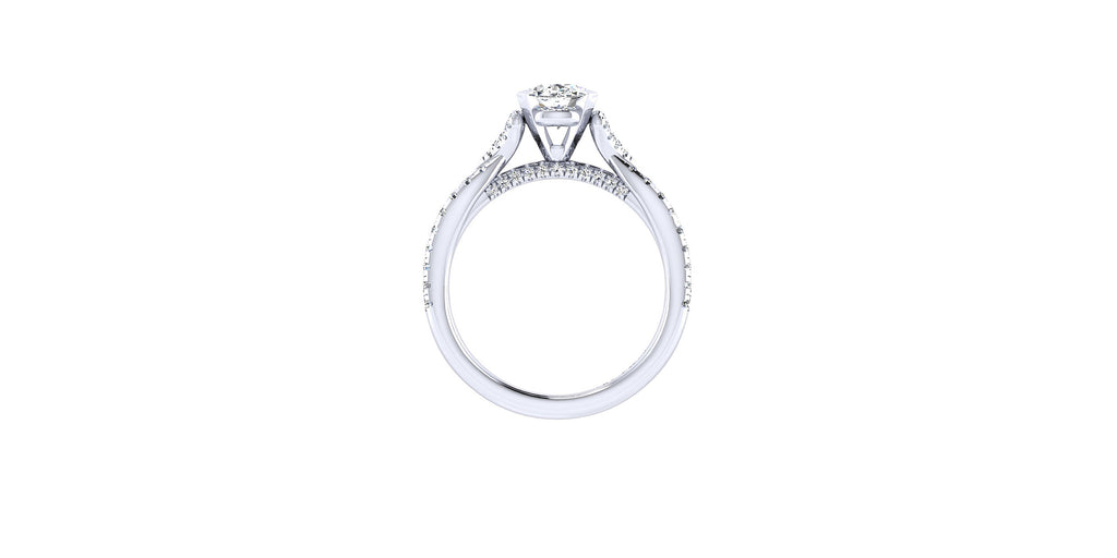 Alicia 14k White Gold Oval Shape Twisted Engagement Ring
