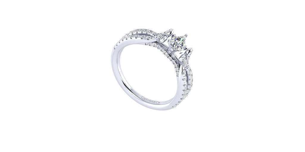 Alicia 14k White Gold Pear Shape Twisted Engagement Ring