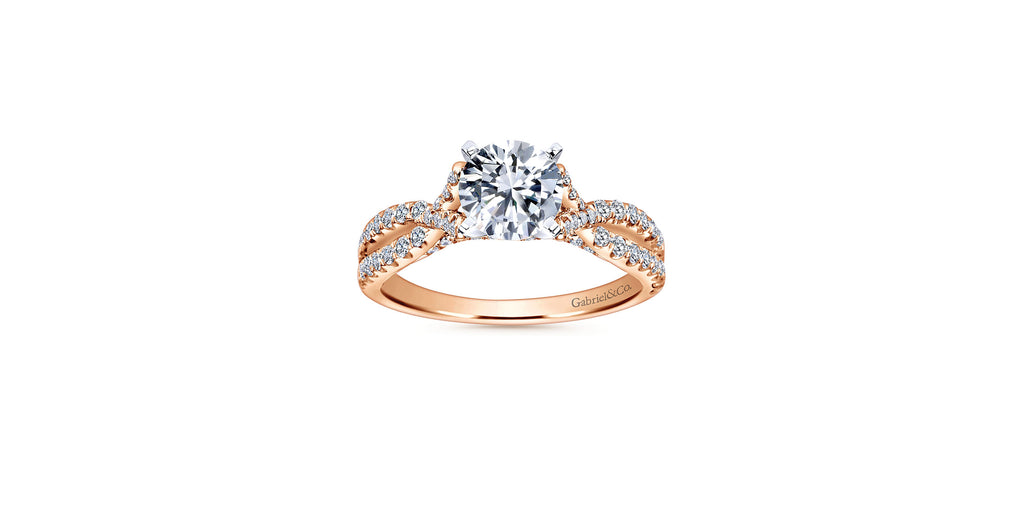 Alicia 14k Rose Gold Round Twisted Engagement Ring