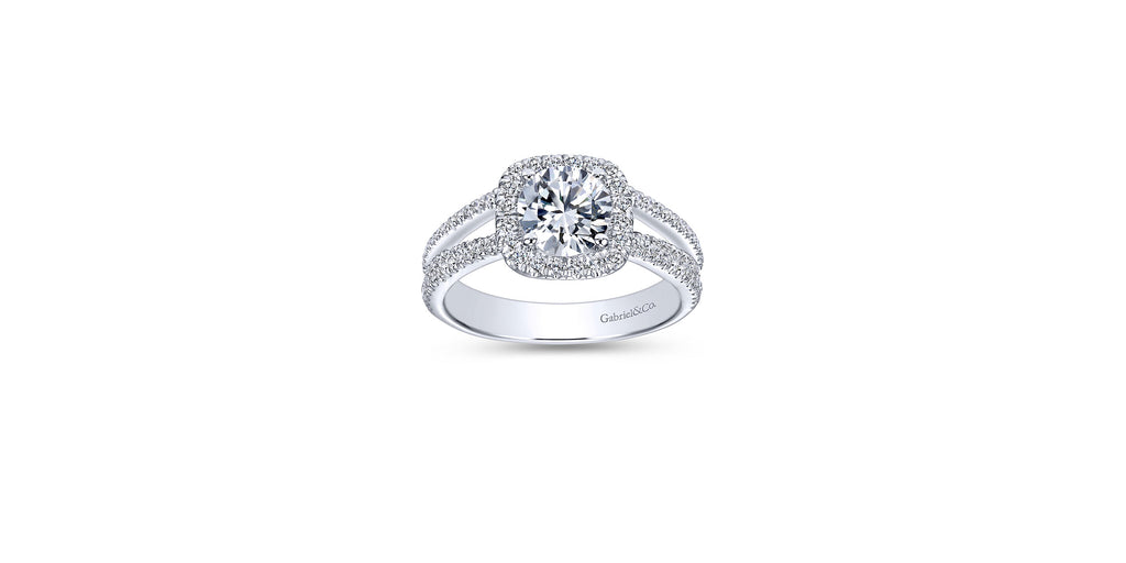 Hillary Platinum Round Halo Engagement Ring
