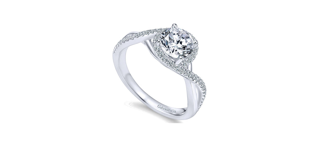 Courtney 14k White Gold Round Twist Engagement Ring