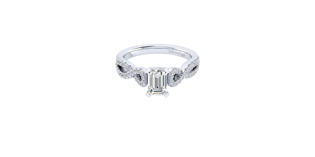 Kayla 14k White Gold Emerald Shape Twist Engagement Ring