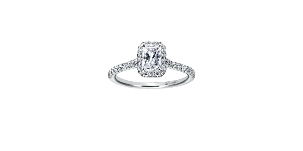Kelsey 14k White Gold Emerald Shape Halo Engagement Ring
