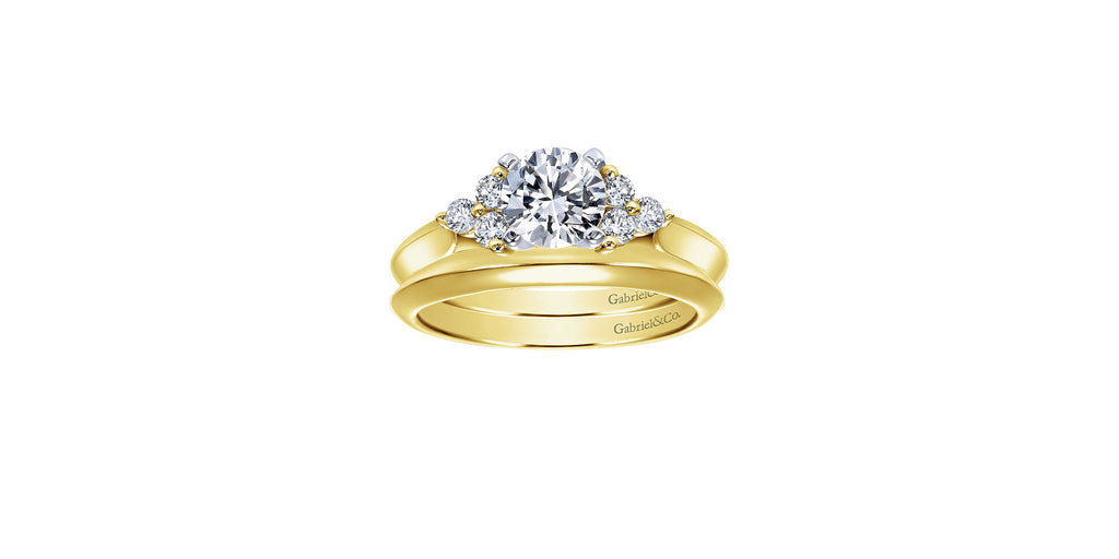 14k Yellow Gold Round Three Stone Engagement Ring