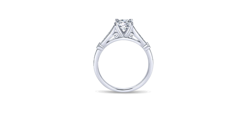 Mae Vintage 14k White Gold Round Straight Engagement Ring