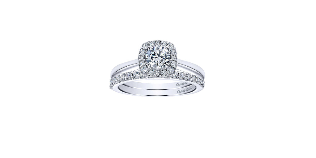 Miley 14k White Gold Round Halo Engagement Ring