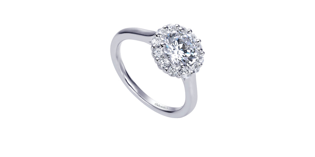 Althea 14k White Gold Round Halo Engagement Ring