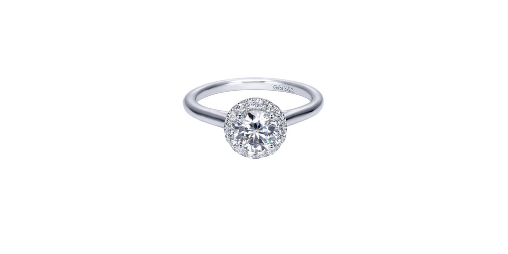 Stacy Platinum Round Halo Engagement Ring