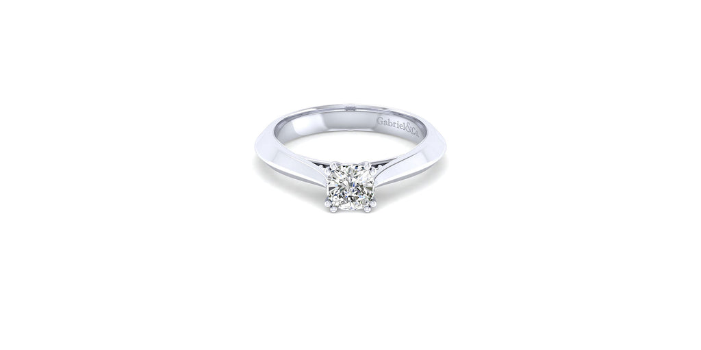 Sasha 14k White Gold Cushion Solitaire Engagement Ring
