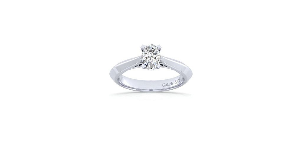 Sasha 14k White Gold Oval Solitaire Engagement Ring