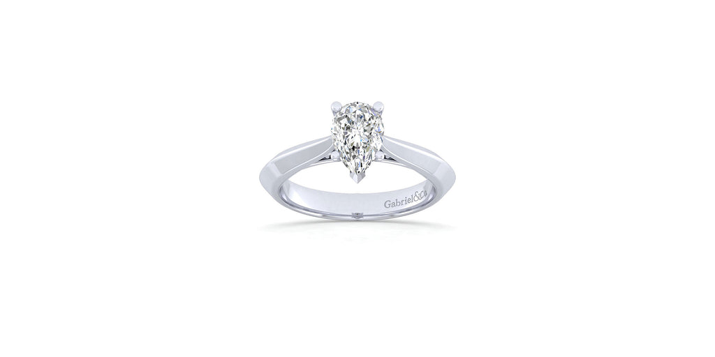 Sasha 14k White Gold Pear Solitaire Engagement Ring