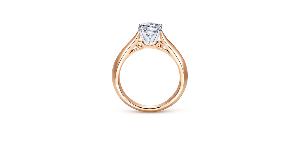 Sasha 14k Rose Gold Round Solitaire Engagement Ring