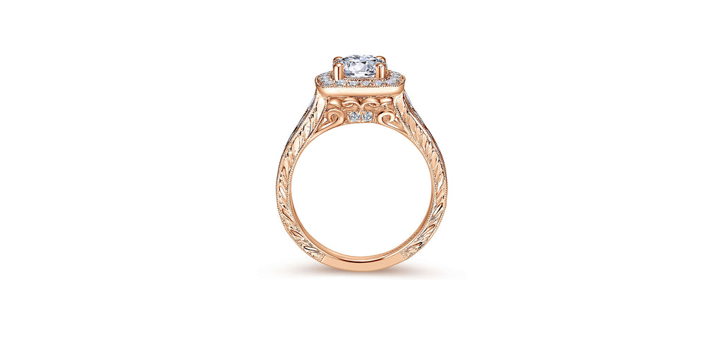 Elaine Vintage 14k Rose Gold Round Halo Engagement Ring