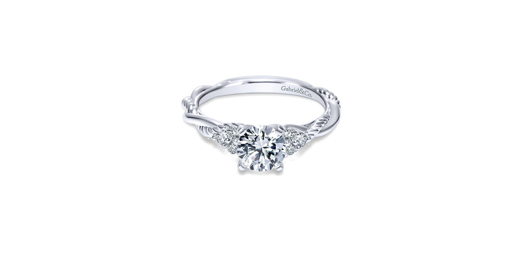 Catalina 14k White Gold Round Twisted Engagement Ring
