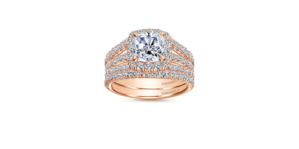 Sabrina 14k Rose Gold Cushion Halo Engagement Ring